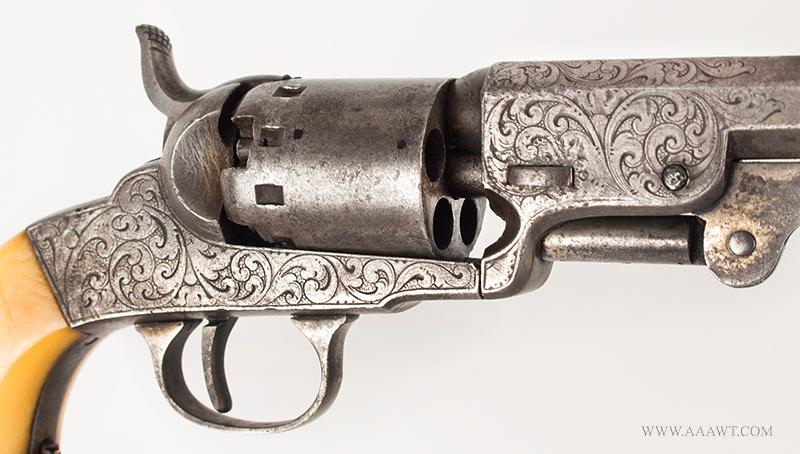 Manhattan Pocket Model Percussion Revolver, Series I, Serial Number 69, engraving