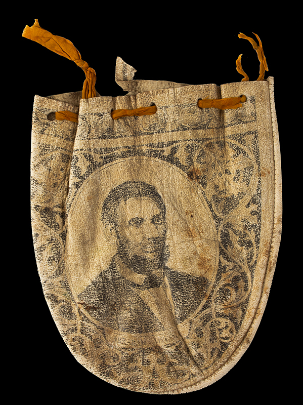 Civil War Period Tobacco Pouch, Portraits of Lincoln and Grant Unknown maker, likely unique, right facing