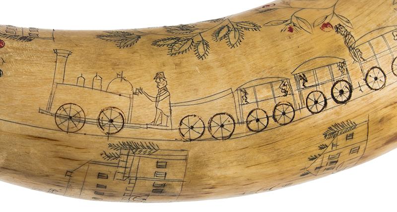 Antique Powder Horn, Train, Ships, Flora, Man w/ Musket British, 1830's, detail view 1