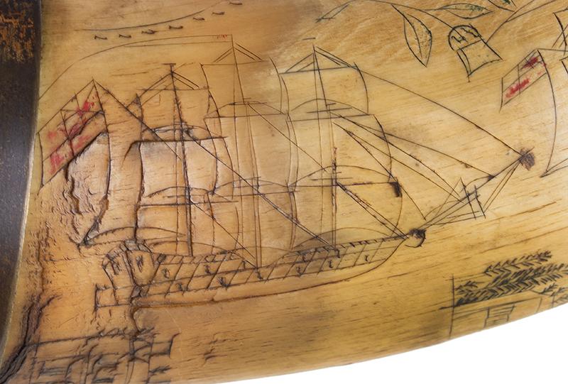 Antique Powder Horn, Train, Ships, Flora, Man w/ Musket British, 1830's, detail view 3