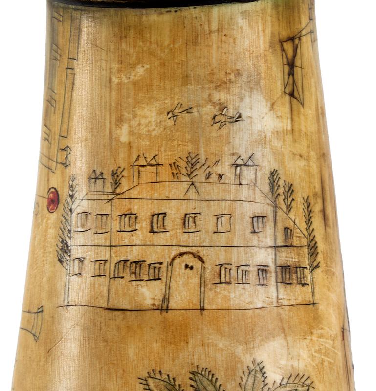 Antique Powder Horn, Train, Ships, Flora, Man w/ Musket British, 1830's, detail view 6
