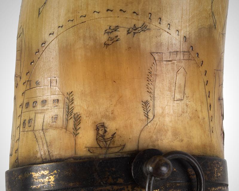 Antique Powder Horn, Train, Ships, Flora, Man w/ Musket British, 1830's, detail view 7
