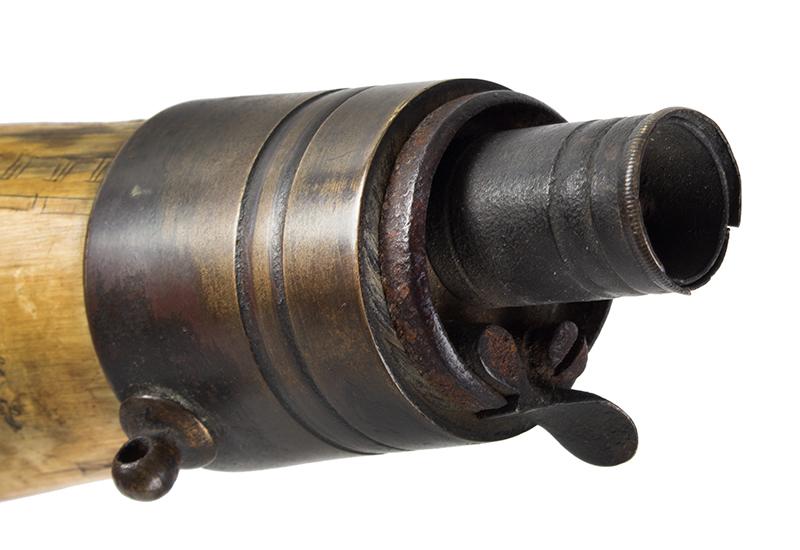 Antique Powder Horn, Train, Ships, Flora, Man w/ Musket British, 1830's, detail view 8