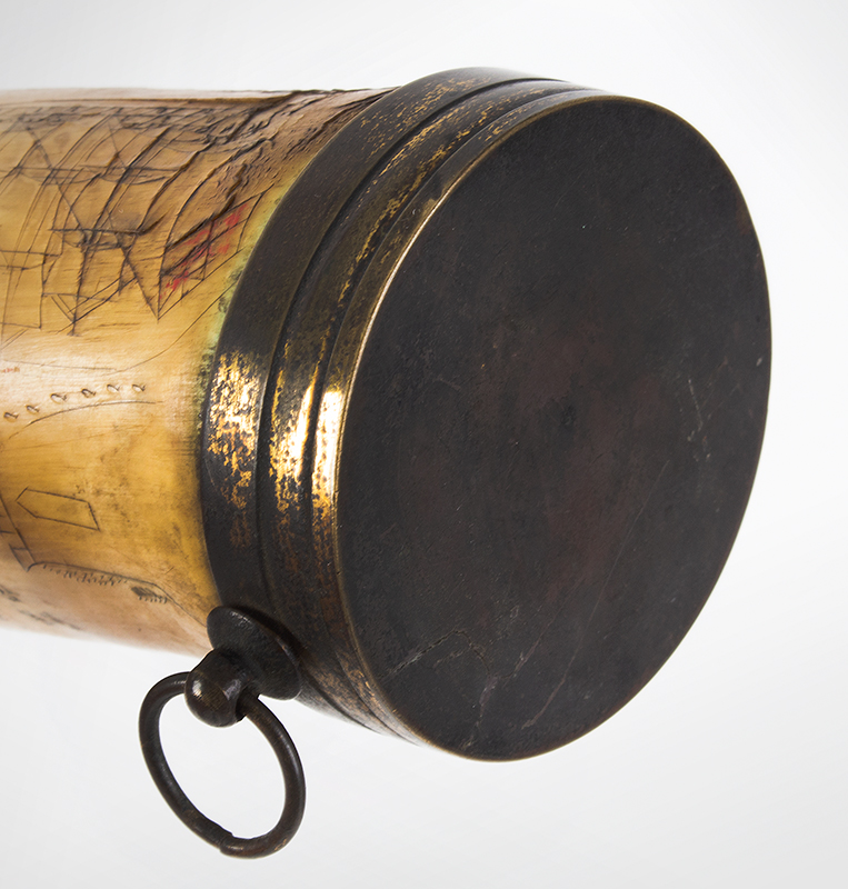 Antique Powder Horn, Train, Ships, Flora, Man w/ Musket British, 1830's, detail view 9