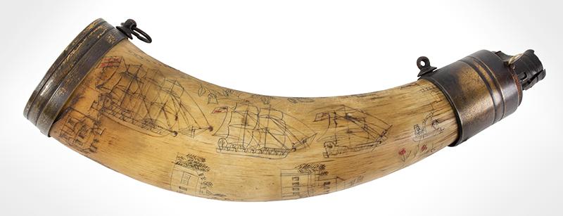 Antique Powder Horn, Train, Ships, Flora, Man w/ Musket British, 1830' s, entire view 1