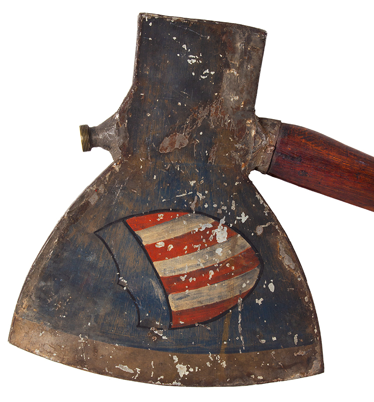 Rail-Splitters Campaign Torch, Political, Lincoln, Painted Tin, Wood Handle Unknown maker, Lincoln campaign of 1860 and 1864, BEST FORM AMERICAN SHIELD, axe head side 1