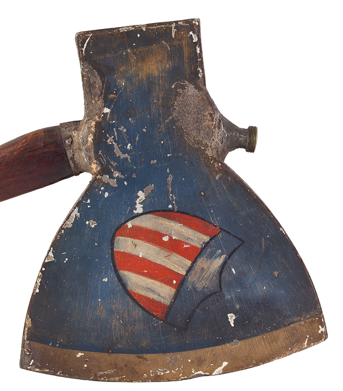 Rail-Splitters Campaign Torch, Political, Lincoln, Painted Tin, Wood Handle Unknown maker, Lincoln campaign of 1860 and 1864, BEST FORM AMERICAN SHIELD, axe head side 2