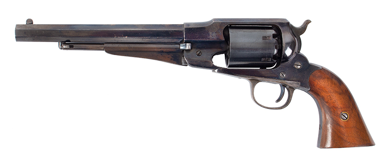 Cased Remington New Model 1858 Army Revolver, Civilian Issue, Accessories 8-Inch Octagon Barrel .44-caliber, Serial Number: 144304, Standard Markings, left facing
