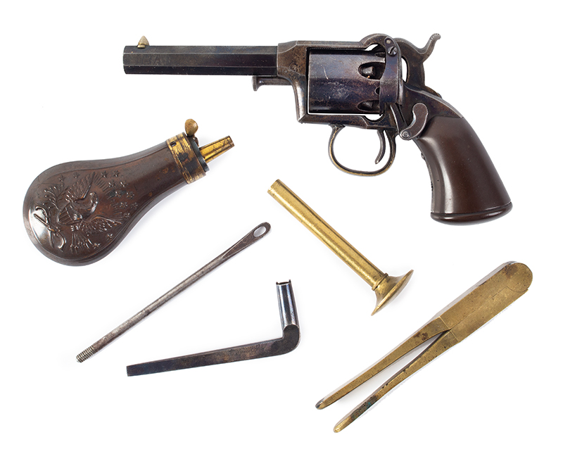Remington Beals 1st Model Pocket Revolver, Original Factory Box 3-Inch .31 Caliber Octagon Barrel, 5 Shot Round Cylinder, Serial Number: 176 Wonderful Set, Missing Nothing, In Old Collection For 40/50-Years, accessories