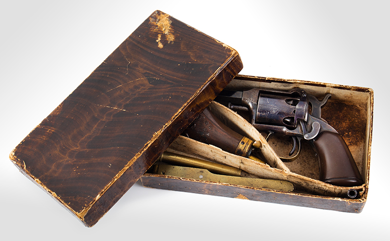 Remington Beals 1st Model Pocket Revolver, Original Factory Box 3-Inch .31 Caliber Octagon Barrel, 5 Shot Round Cylinder, Serial Number: 176 Wonderful Set, Missing Nothing, In Old Collection For 40/50-Years, case view 2