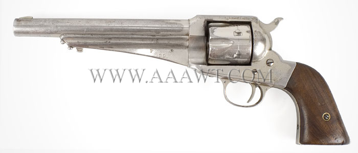 Historic Remington M1875 Indian Police Revolver, Pine Ridge Reservation, # 29 Single Action Army in 44. Caliber, Nickle Finish, Serial No. 734, Pine Ridge No. 29, right facing