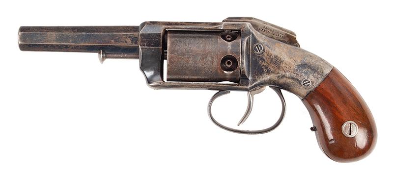 Allen & Wheelock Side Hammer Revolver, 3rd Type Standard Marking: Allen & Wheelock.Worcester. MS. US– Allen's Pats.  Sept.7. Nov.9. 1858., left facing