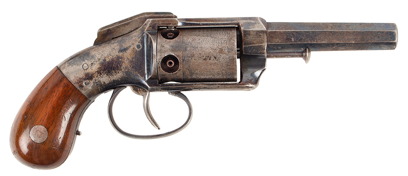 Allen & Wheelock Side Hammer Revolver, 3rd Type Standard Marking: Allen & Wheelock.Worcester. MS. US– Allen's Pats.  Sept.7. Nov.9. 1858., right facing