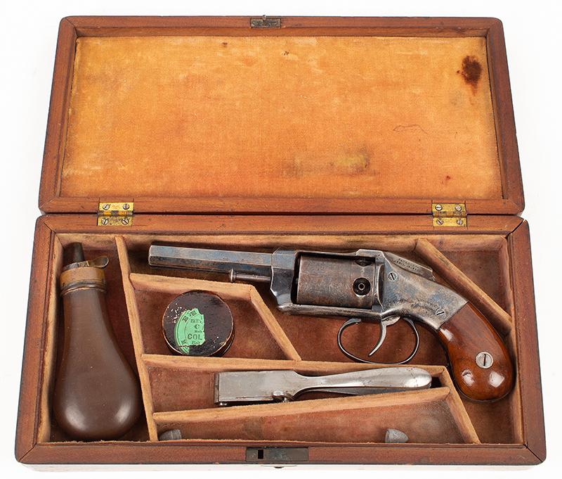 Allen & Wheelock Side Hammer Revolver, 3rd Type Standard Marking: Allen & Wheelock.Worcester. MS. US– Allen's Pats.  Sept.7. Nov.9. 1858., in case view