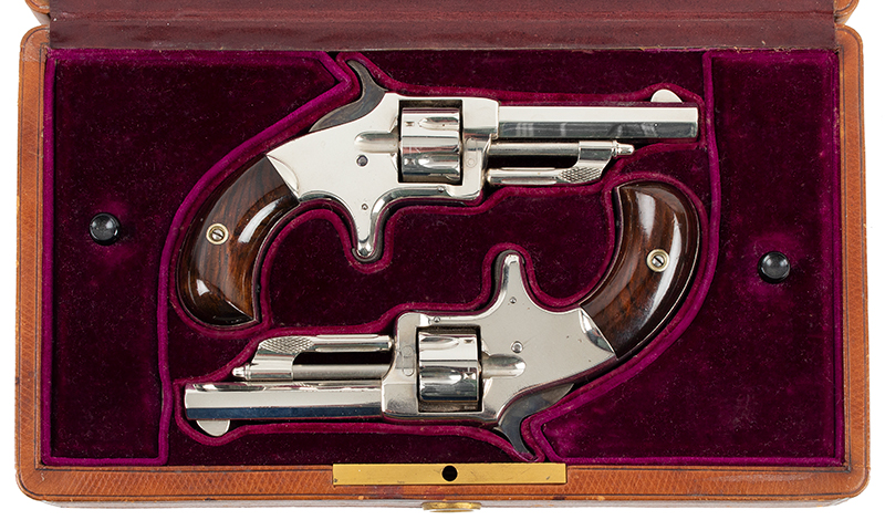 Wesson & Harrington Model 1 Revolvers, Cased Pair Worcester, Massachusetts  Made only between 1871 & 1876, Imported by the famous firm of LePage in Paris, case view