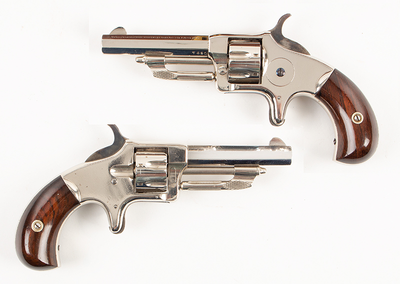 Wesson & Harrington Model 1 Revolvers, Cased Pair Worcester, Massachusetts  Made only between 1871 & 1876, Imported by the famous firm of LePage in Paris, pistols view