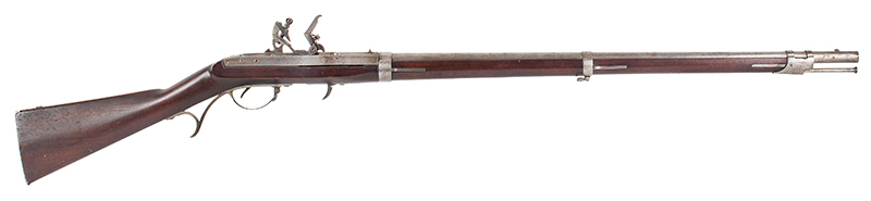 Model 1819 Hall U.S.  Breech-Loading Flintlock Rifle, Second Production, 1826 Walnut stock, standard 1826 marking: J.H. HALL / H. FERRY / US / 1826 .52-caliber, 52.5-inch barrel, 16 grooves, right facing