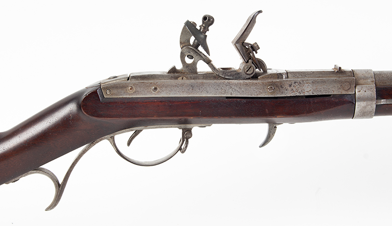 Model 1819 Hall U.S.  Breech-Loading Flintlock Rifle, Second Production, 1826 Walnut stock, standard 1826 marking: J.H. HALL / H. FERRY / US / 1826 .52-caliber, 52.5-inch barrel, 16 grooves, lock view