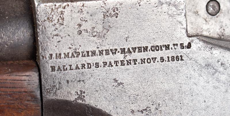 Marlin Made Ballard Pattern Model 1 ¾ Far West Hunter's Model Rifle J.M. MARLIN / NEW HAVEN Conn. / U.S.S / BALLARD'S PATENT NOV. 6, 1861, address