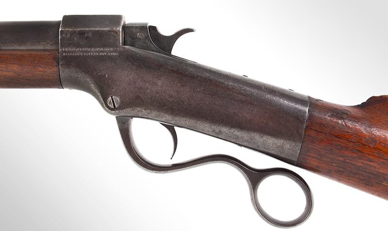 Marlin Made Ballard Pattern Model 1 ¾ Far West Hunter's Model Rifle J.M. MARLIN / NEW HAVEN Conn. / U.S.S / BALLARD'S PATENT NOV. 6, 1861, side detail
