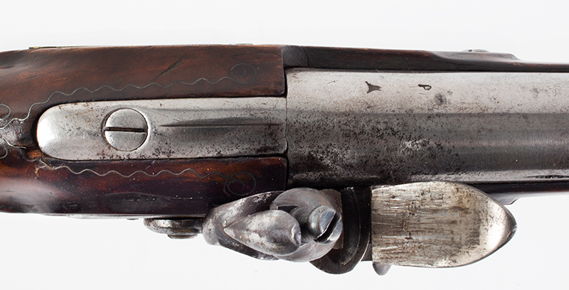 Massachusetts Militia Musket, Private Issue, Worcester County Likely made by Asa Waters, extremely rare and beautiful inlaid eagle silver thumb piece Asa Waters II (1769-1841), Millbury, Massachusetts, (.69 caliber, 40-inch barrel) Circa 1817-1823, tang