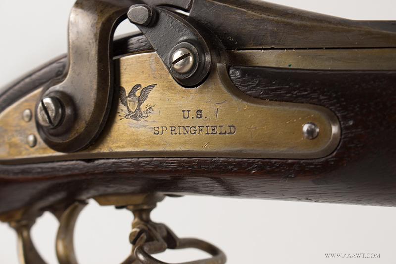 U.S. Model 1866 Springfield Allin Conversion Trapdoor Rifle, lock plate detail 1