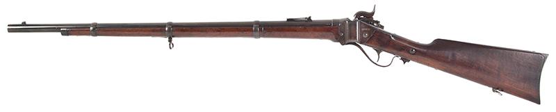 """Civil War Era Rifle; Sharps, New Model 1863, 3 Band Barrel .52 caliber percussion breechloader, 30""""-barrel, Serial number C,31792, left facing"""