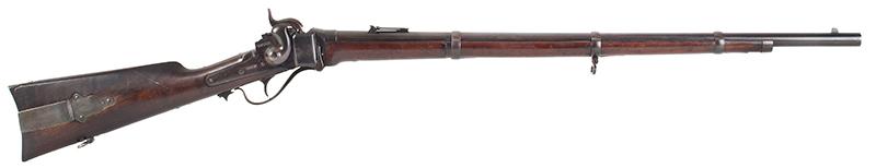 """Civil War Era Rifle; Sharps, New Model 1863, 3 Band Barrel .52 caliber percussion breechloader, 30""""-barrel, Serial number C,31792, right facing"""