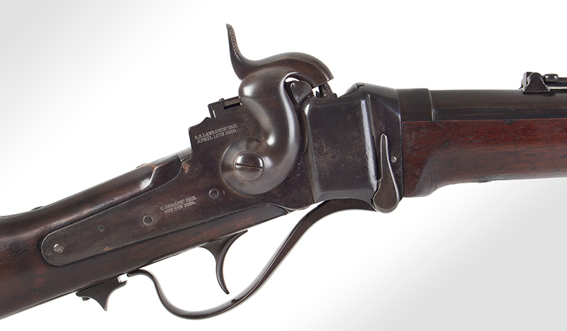 "Civil War Era Rifle; Sharps, New Model 1863, 3 Band Barrel .52 caliber percussion breechloader, 30""-barrel, Serial number C,31792, lock plate"