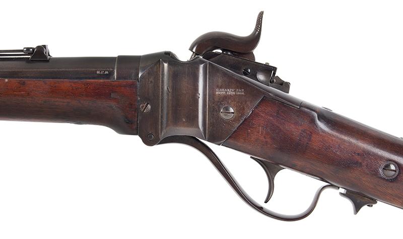 "Civil War Era Rifle; Sharps, New Model 1863, 3 Band Barrel .52 caliber percussion breechloader, 30""-barrel, Serial number C,31792, side plate"