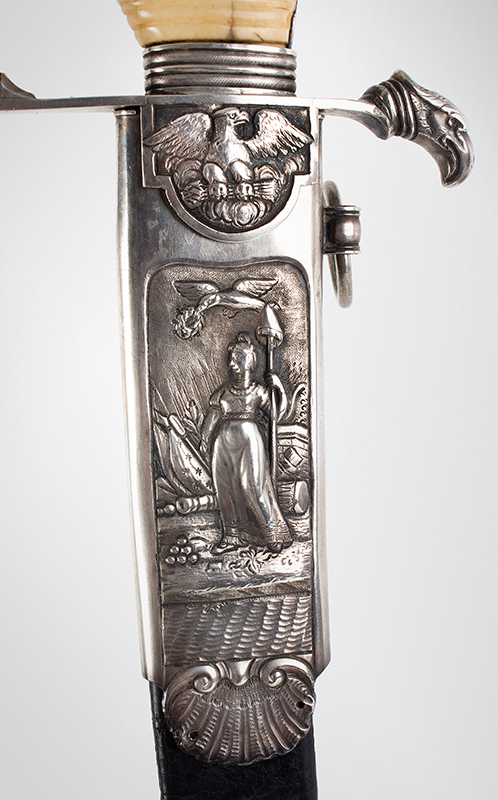 War of 1812, Important Philadelphia Silver Hilt Sabers Unknown Maker…truly dramatic!, scabbard detail 1 sword 2