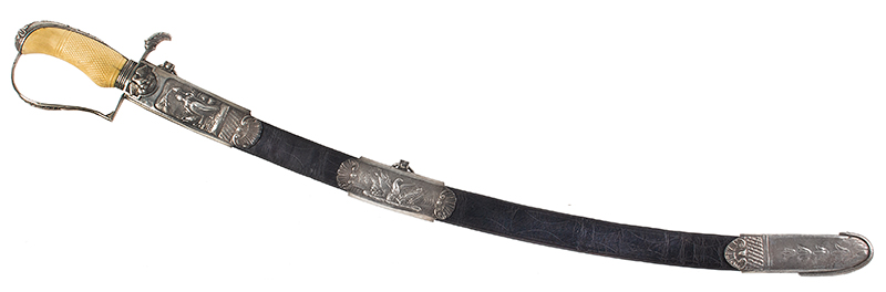 War of 1812, Important Philadelphia Silver Hilt Sabers Unknown Maker…truly dramatic!, scabbard view sword 2