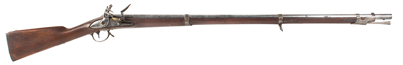 "Musket, Rare, Springfield US Model 1840, Original Bayonet, UNFIRED, Dated 1841 42"", .69-caliber barrel, dated 1841 on lock and breech tang, crisp ""NH"" on bbl flat An Outstanding Example of the Highest Integrity, NO Flint Marks on Frizzen!, right facing"