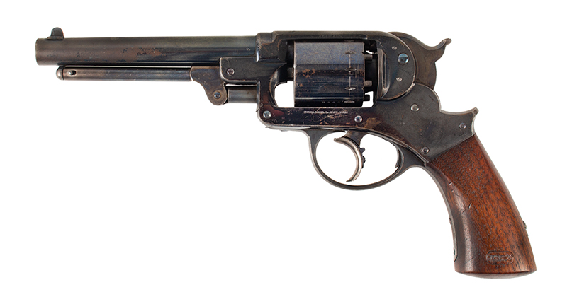 Antique Starr Double Action 1858 Army Revolver, 90% Brilliant Bright Blue, Great Cartouches STARR ARMS CO., NEW YORK – STARR'S PATENT JAN 15, 1856, left facing