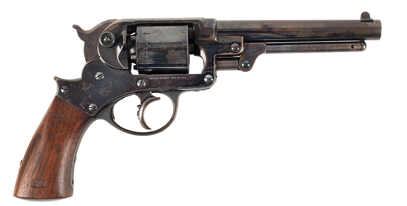 Antique Starr Double Action 1858 Army Revolver, 90% Brilliant Bright Blue, Great Cartouches STARR ARMS CO., NEW YORK – STARR'S PATENT JAN 15, 1856, right facing