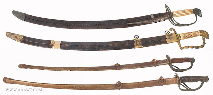 Swords, Lot of Four, War of 1812 and Civil War Periods, Market Fresh