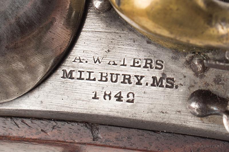 Outstanding US Model 1836 Flintlock Pistol by Asa Waters, Millbury, Dated 1842, address