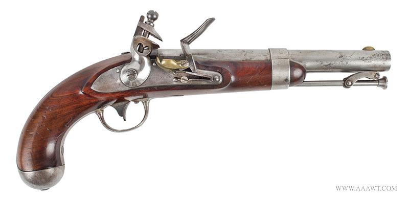 Outstanding US Model 1836 Flintlock Pistol by Asa Waters, Millbury, Dated 1842, right facing
