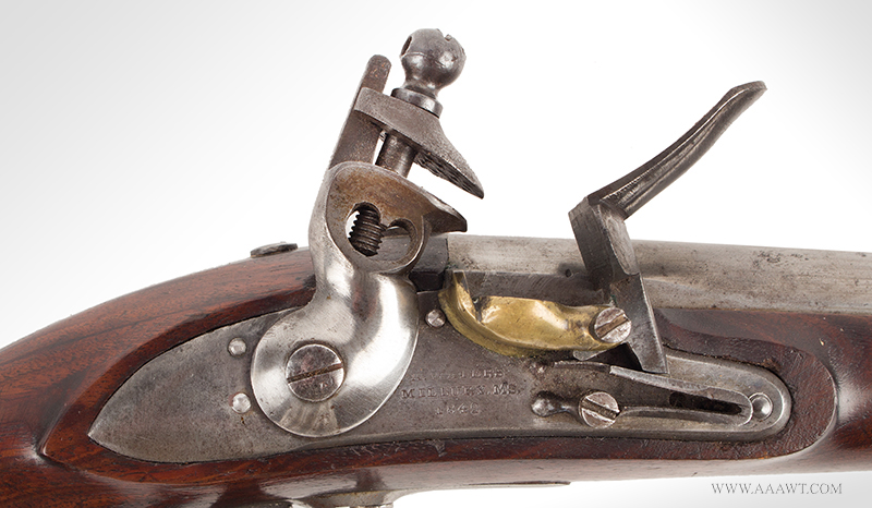 Outstanding US Model 1836 Flintlock Pistol by Asa Waters, Millbury, Dated 1842, lock plate