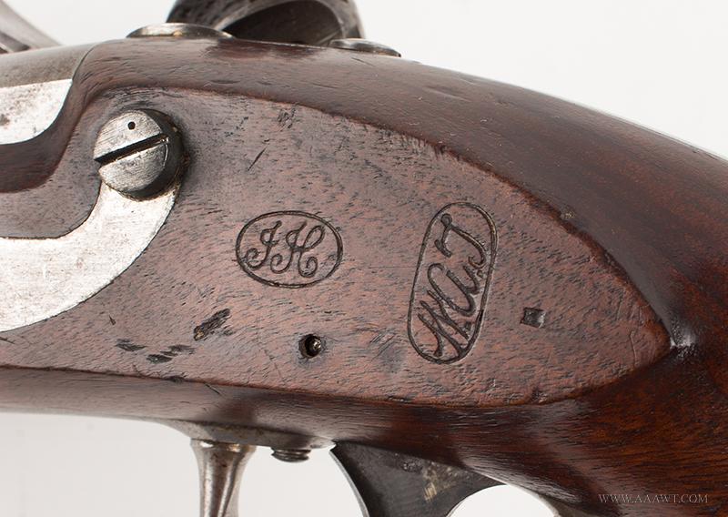 Outstanding US Model 1836 Flintlock Pistol by Asa Waters, Millbury, Dated 1842, marks