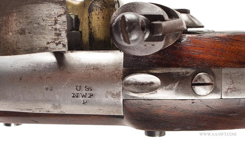 Outstanding US Model 1836 Flintlock Pistol by Asa Waters, Millbury, Dated 1842, tang