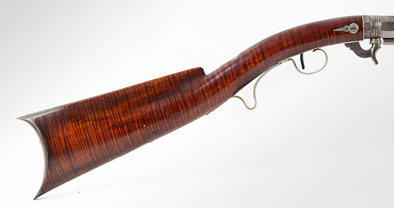 Deluxe Nicanor Kendall Under Hammer Rifle, Serial Number 2 Windsor, Vermont (Active 1835-1849) Circa 1838-1842 Exquisite Condition, one of the finest condition Kendall rifles extant!, stock