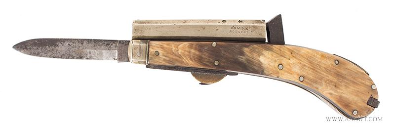 Unwin & Rogers Knife Pistol, Two Blades and Tweezers .31-Caliber, 3-3/8'' Nickel Barrel, Silver Pins, blade view