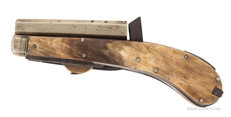 Unwin & Rogers Knife Pistol, Two Blades and Tweezers .31-Caliber, 3-3/8'' Nickel Barrel, Silver Pins, left facing