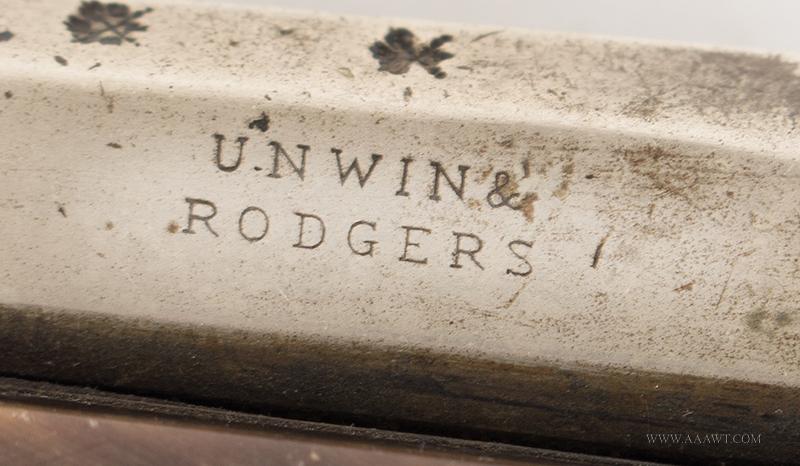 Unwin & Rogers Knife Pistol, Two Blades and Tweezers .31-Caliber, 3-3/8'' Nickel Barrel, Silver Pins, maker detail