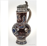 Westerwald, Blue & Gray, Mangan, Pewter LidOverall height: 11