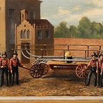 Volunteer Fire Department Painting, Torrent 10, Hand Pumper, Cleveland Ohio Circa 1850's – 60's