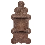 18th Century Spoon Rack, Elaborate Friesian Carving, Original Surface History  Hudson River Valley, possibly New Jersey  Wonderful early 19th century Spanish Brown over original green paint, dry patina