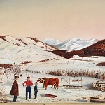 Antique Painting, Rural Winter Landscape, Maine Scene, Sarah Jane Prentiss (1823-1877)