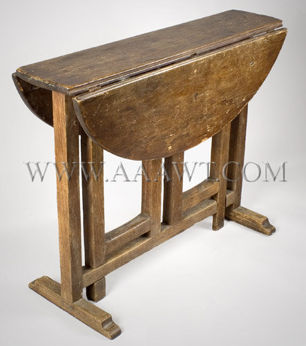 Table, Gateleg Table, Small, Tuck Away Probably Rhode Island Circa 1730 To  1750. Hard Pine And Chestnut, Traces Of Red Paint   SOLD